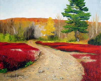 Maine Painting - Beech Hill Blueberries 2 by Laura Tasheiko