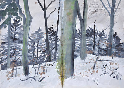 Painting - Beech Trunks,winter Forest by Martin Stankewitz