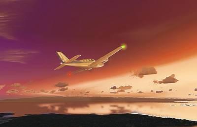 Digital Art - Beechcraft Baron 58 3 by Marcello Cicchini