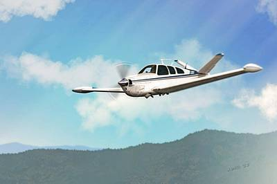 Digital Art - Beechcraft Bonanza V Tail by John Wills