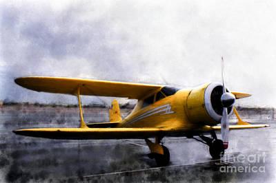 Bi-plane Photograph - Beechcraft Stagger Wing by Arne Hansen