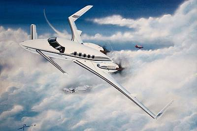 Aircraft Wall Art - Painting - Beechcraft Starship 2000 by Peter Ring Sr