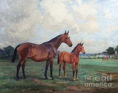 Wright Barker Painting - Beechnut II With Her Foal Nut Bush by MotionAge Designs