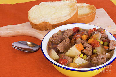 Photograph - Beef Soup And Toasted Buttered Italian Bread by Vizual Studio