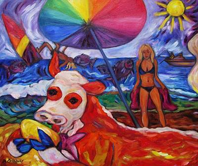 Painting - Beefy Eats Burga At The Beach by Dianne  Connolly