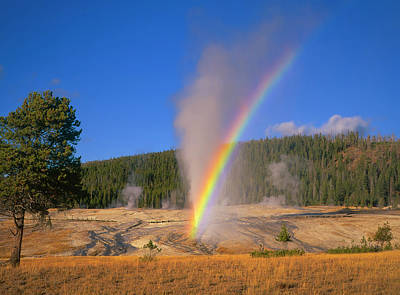 Photograph - Beehive Geyser Rainbow by Mark Miller