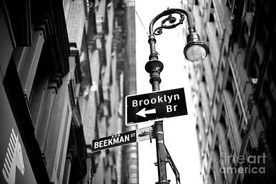 Photograph - Beekman Street New York City by John Rizzuto