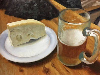 Beer Oil Painting - Beer And Jarlsberg by Timothy Jones