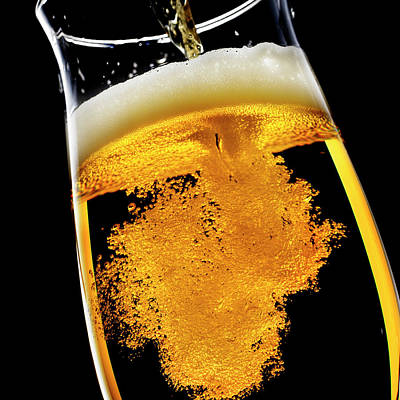 Beer Wall Art - Photograph - Beer Been Poured Into Glass, Studio Shot by Ultra.f