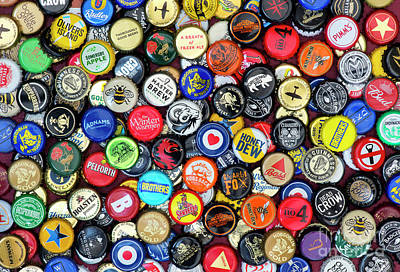 Bottle Cap Photograph - Beer Bottle Caps by Tim Gainey