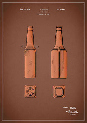 Friends Photograph - Beer Bottle Patent 1934 by Mark Rogan