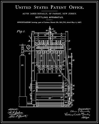 Food And Drink Digital Art - Beer Bottler Patent - Black by Finlay McNevin