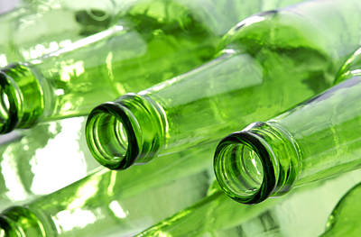 Green Color Photograph - Beer Bottles by Blink Images