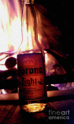 Mixed Media - Beer By The Fire by David Millenheft