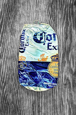 Photograph - Beer Can Extra Blue Crushed On Bw Plywood 81 by YoPedro