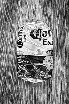 Photograph - Beer Can Extra Blue Crushed On Plywood 81 In Bw by YoPedro