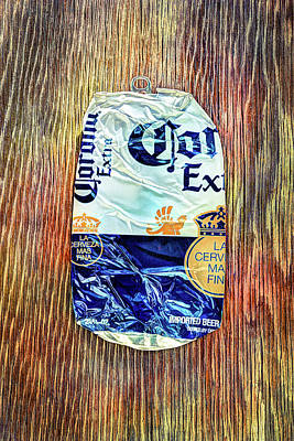 Photograph - Beer Can Extra Blue Crushed On Plywood 81 by YoPedro
