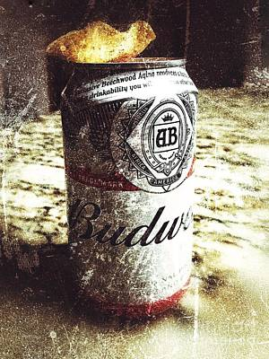 Beer Royalty-Free and Rights-Managed Images - Beer Can with Tortilla Chip by Jason Freedman