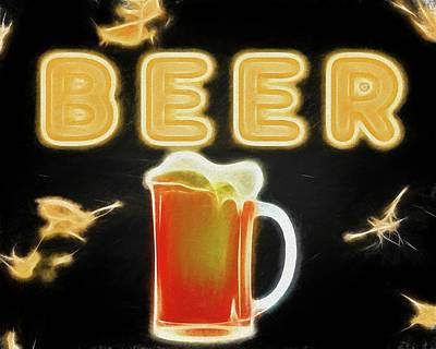Beer Mixed Media - Beer Canvas Sign by Dan Sproul