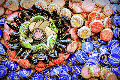 Photograph - Beer Cap Collage by Todd Breitling