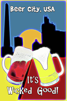 Digital Art - Beer City Usa by John Haldane