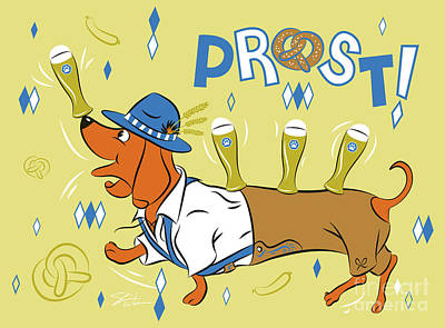 Digital Art - Beer Dachshund Dog by Shari Warren