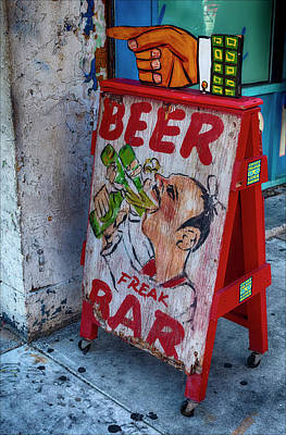 Beer Royalty-Free and Rights-Managed Images - Beer Freak Bar Sign by Robert Ullmann