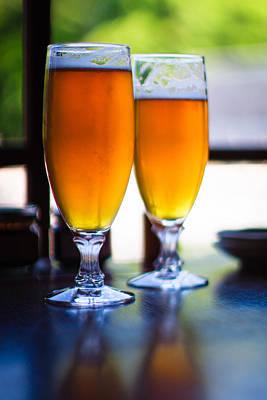 Glass Table Reflection Photograph - Beer Glass by Sakura_chihaya+