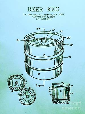 American Landmarks Drawing - Beer Keg 1994 Patent - Blue by Scott D Van Osdol