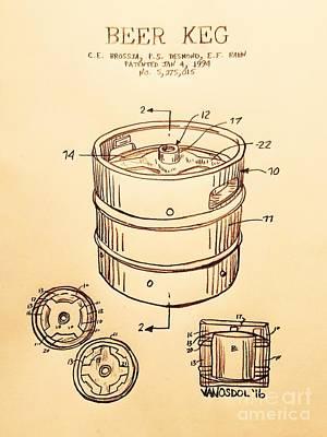 Realist Digital Art - Beer Keg 1994 Patent - Vintage by Scott D Van Osdol