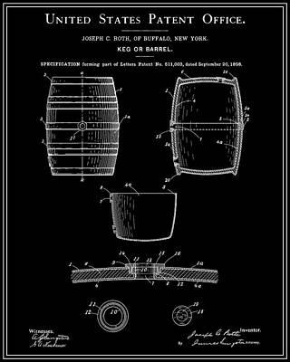 Food And Drink Digital Art - Beer Keg Patent - Black by Finlay McNevin