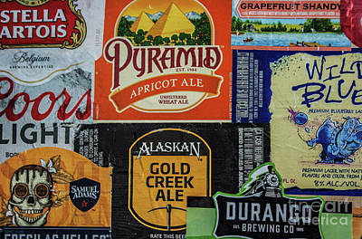 Photograph - Beer Label Collage by Tony Baca