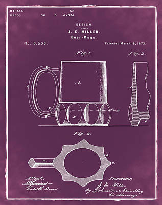 Beer Drawing - Beer Mug 1873 In Red by Bill Cannon