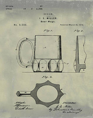 Beer Drawing - Beer Mug 1873 In Weathered by Bill Cannon