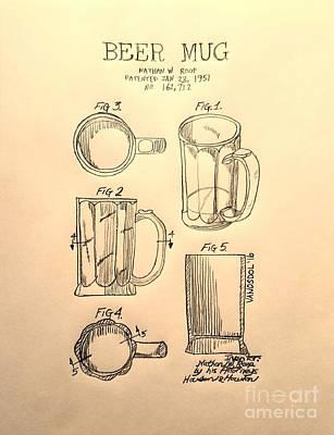 Realist Digital Art - Beer Mug 1951 Patent - Aged by Scott D Van Osdol