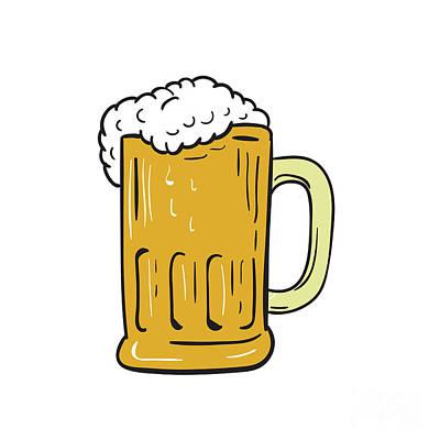 Tankard Digital Art - Beer Mug Drawing  by Aloysius Patrimonio