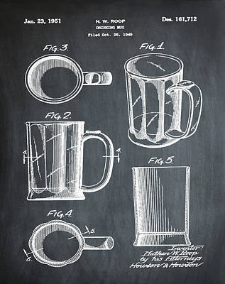 Beer Mug Patent 1951 In Chalk Art Print by Bill Cannon