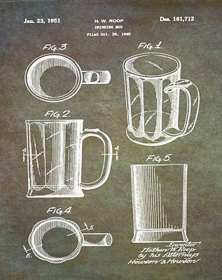 Beer Drawing - Beer Mug Patent 1951 In Marble by Bill Cannon