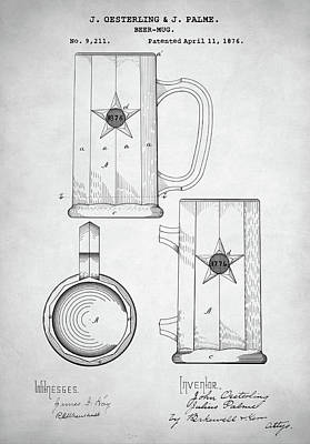 Digital Art - Beer Mug Patent by Taylan Apukovska