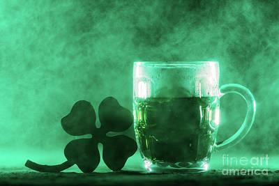 Photograph - Beer Mug With Green Beer And Shamrock In A Smoke. by Michal Bednarek