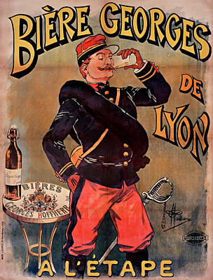 Beer Drawings - Beer- Policeman - Officer - Poster - Vintage - Wall Art - Art Print  by Art Makes Happy