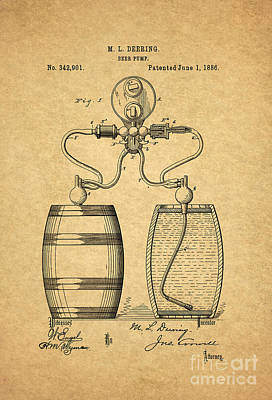 Beer Royalty-Free and Rights-Managed Images - Beer Pump Patent 1886 1 by Nishanth Gopinathan