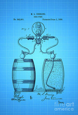 Beer Royalty-Free and Rights-Managed Images - Beer Pump Patent 1886 2 by Nishanth Gopinathan