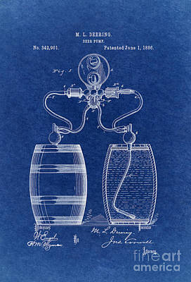 Beer Royalty-Free and Rights-Managed Images - Beer Pump Patent 1886 3 by Nishanth Gopinathan