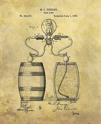 Food And Beverage Drawings - Beer Pump Patent by Dan Sproul