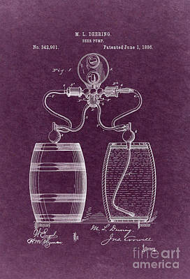Beer Royalty-Free and Rights-Managed Images - Beer Pump Patent M. L. Deering 1886 4 by Nishanth Gopinathan