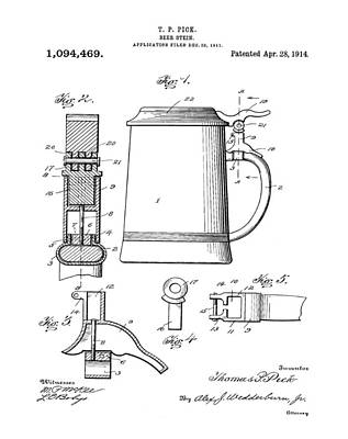 Stein Drawing - Beer Stein Patent 1914 by Bill Cannon