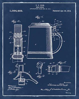 Stein Digital Art - Beer Stein Patent 1914 In Blue by Bill Cannon