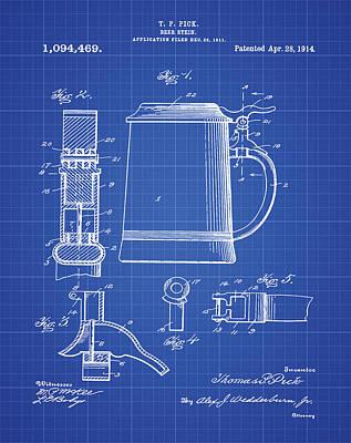 Stein Digital Art - Beer Stein Patent 1914 In Blue Print by Bill Cannon