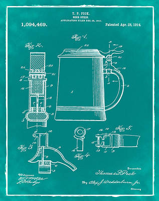 Stein Digital Art - Beer Stein Patent 1914 In Green by Bill Cannon